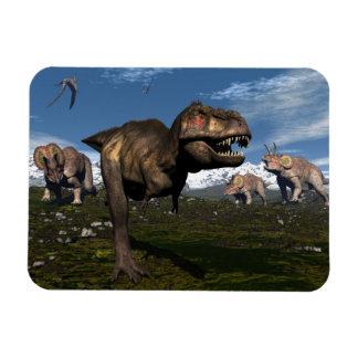 Tyrannosaurus rex attacked by triceratops dinosaur magnet
