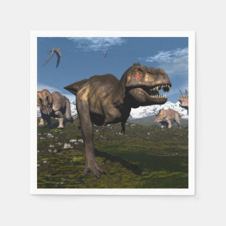 Tyrannosaurus rex attacked by triceratops dinosaur paper napkins
