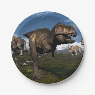 Tyrannosaurus rex attacked by triceratops dinosaur paper plate