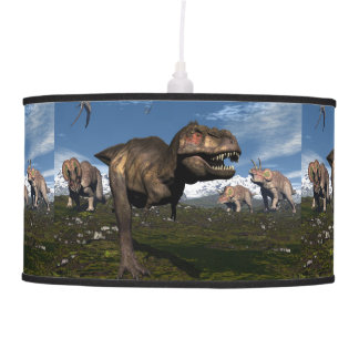 Tyrannosaurus rex attacked by triceratops dinosaur pendant lamp