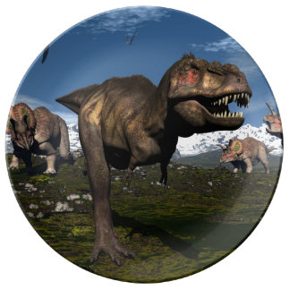 Tyrannosaurus rex attacked by triceratops dinosaur plate
