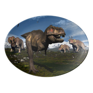 Tyrannosaurus rex attacked by triceratops dinosaur porcelain serving platter