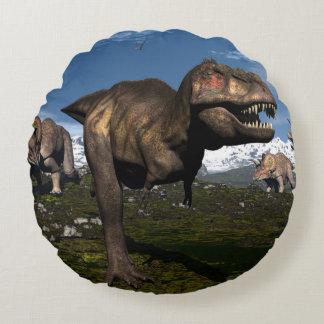 Tyrannosaurus rex attacked by triceratops dinosaur round pillow
