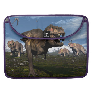Tyrannosaurus rex attacked by triceratops dinosaur sleeve for MacBooks