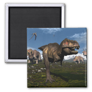 Tyrannosaurus rex attacked by triceratops dinosaur square magnet