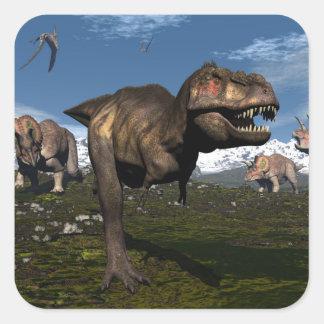 Tyrannosaurus rex attacked by triceratops dinosaur square sticker