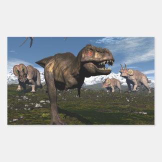 Tyrannosaurus rex attacked by triceratops dinosaur sticker