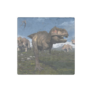Tyrannosaurus rex attacked by triceratops dinosaur stone magnets