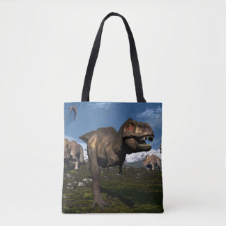 Tyrannosaurus rex attacked by triceratops dinosaur tote bag