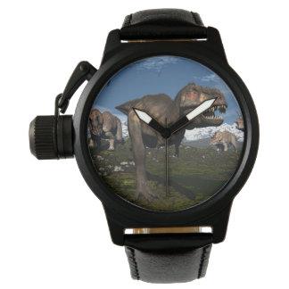 Tyrannosaurus rex attacked by triceratops dinosaur watch