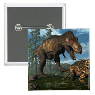 Tyrannosaurus rex attacking einiosaurus dinosaur 2 inch square button