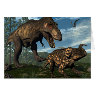 Tyrannosaurus rex attacking einiosaurus dinosaur card