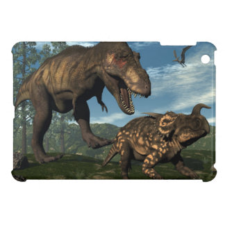 Tyrannosaurus rex attacking einiosaurus dinosaur cover for the iPad mini