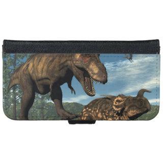 Tyrannosaurus rex attacking einiosaurus dinosaur iPhone 6 wallet case