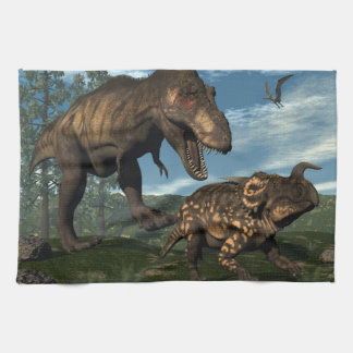 Tyrannosaurus rex attacking einiosaurus dinosaur kitchen towel