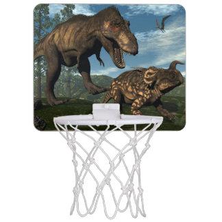 Tyrannosaurus rex attacking einiosaurus dinosaur mini basketball hoop