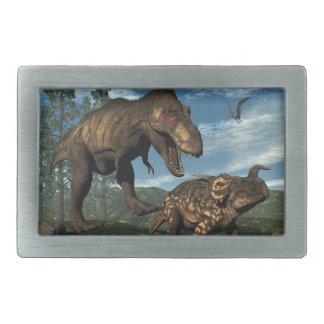 Tyrannosaurus rex attacking einiosaurus dinosaur rectangular belt buckles