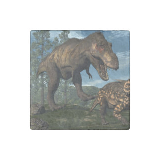 Tyrannosaurus rex attacking einiosaurus dinosaur stone magnets