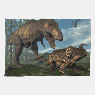 Tyrannosaurus rex attacking einiosaurus dinosaur towels