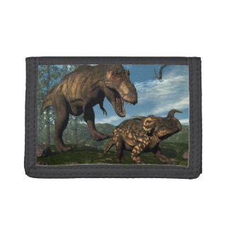 Tyrannosaurus rex attacking einiosaurus dinosaur tri-fold wallet