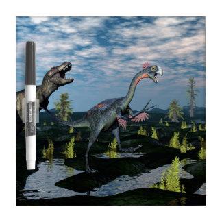 Tyrannosaurus rex attacking gigantoraptor dinosaur dry erase white board