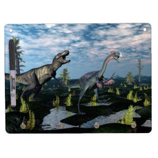 Tyrannosaurus rex attacking gigantoraptor dinosaur dry erase whiteboards