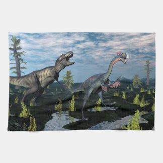 Tyrannosaurus rex attacking gigantoraptor dinosaur kitchen towel