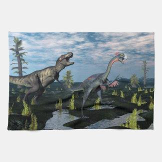 Tyrannosaurus rex attacking gigantoraptor dinosaur towels
