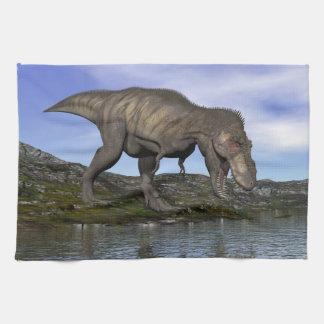 Tyrannosaurus rex dinosaur - 3D render Hand Towels