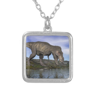 Tyrannosaurus rex dinosaur - 3D render Silver Plated Necklace