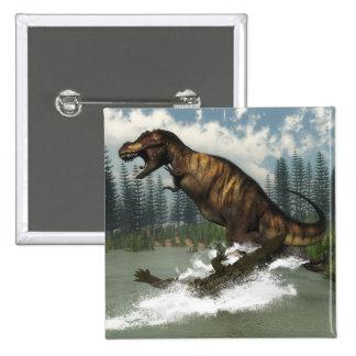 Tyrannosaurus rex dinosaur attacked by deinosuchus 2 inch square button