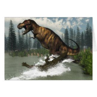Tyrannosaurus rex dinosaur attacked by deinosuchus card