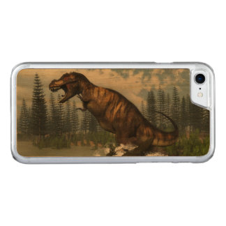Tyrannosaurus rex dinosaur attacked by deinosuchus carved iPhone 7 case
