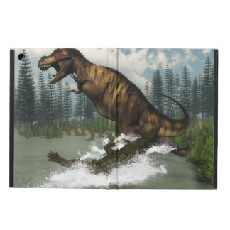 Tyrannosaurus rex dinosaur attacked by deinosuchus cover for iPad air
