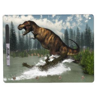 Tyrannosaurus rex dinosaur attacked by deinosuchus Dry-Erase whiteboard