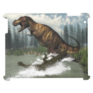 Tyrannosaurus rex dinosaur attacked by deinosuchus iPad case