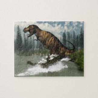 Tyrannosaurus rex dinosaur attacked by deinosuchus jigsaw puzzle
