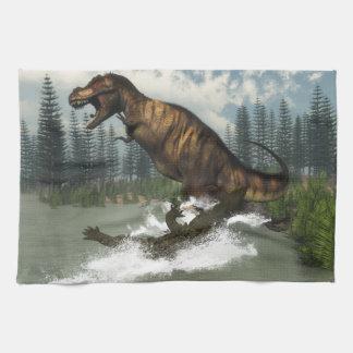 Tyrannosaurus rex dinosaur attacked by deinosuchus kitchen towel