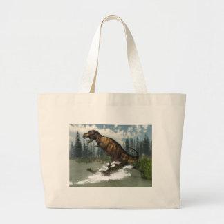 Tyrannosaurus rex dinosaur attacked by deinosuchus large tote bag