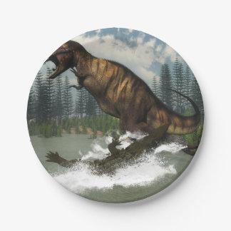 Tyrannosaurus rex dinosaur attacked by deinosuchus paper plate