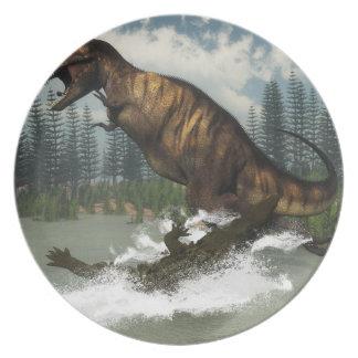 Tyrannosaurus rex dinosaur attacked by deinosuchus plate