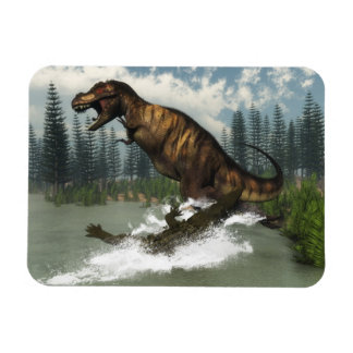 Tyrannosaurus rex dinosaur attacked by deinosuchus rectangular photo magnet