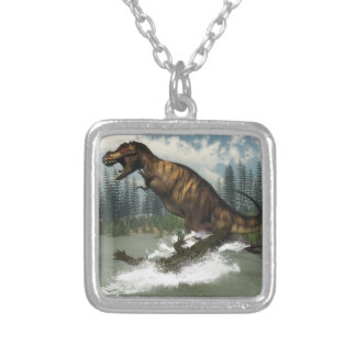 Tyrannosaurus rex dinosaur attacked by deinosuchus silver plated necklace