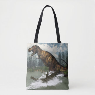 Tyrannosaurus rex dinosaur attacked by deinosuchus tote bag