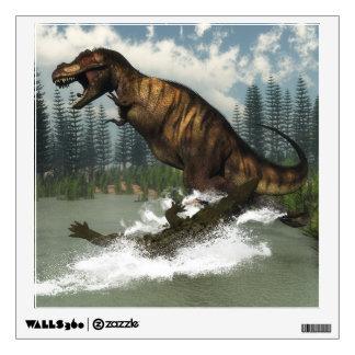 Tyrannosaurus rex dinosaur attacked by deinosuchus wall decal