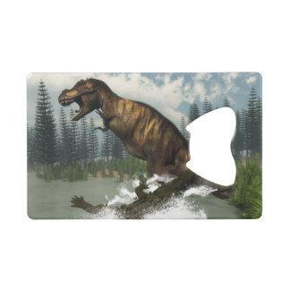 Tyrannosaurus rex dinosaur attacked by deinosuchus wallet bottle opener