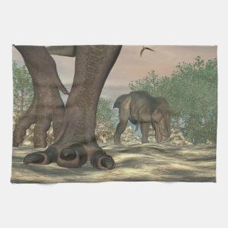 Tyrannosaurus rex dinosaur feet - 3D render Kitchen Towel
