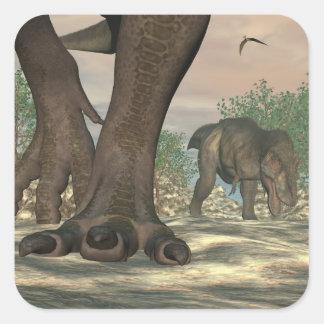 Tyrannosaurus rex dinosaur feet - 3D render Square Sticker