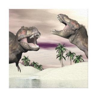 Tyrannosaurus rex dinosaur fight - 3D render Canvas Print