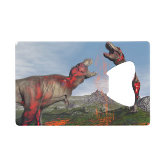 Tyrannosaurus rex dinosaur fight - 3D render Credit Card Bottle Opener